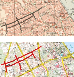 Pre-war and current maps side by side. see how the street's path changes